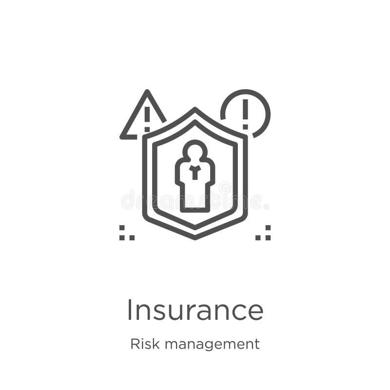 vector del icono del seguro de la colección de la gestión de riesgos Línea fina ejemplo del vector del icono del esquema del segu libre illustration