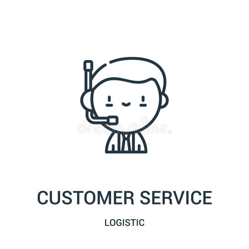 vector del icono del servicio de atención al cliente de la colección logística L?nea fina ejemplo del vector del icono del esquem libre illustration