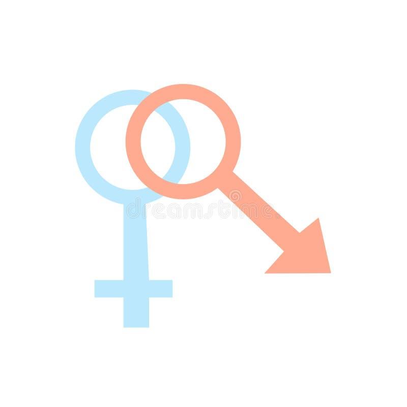 Vector del icono del sexo aislado en el fondo blanco, muestra del sexo, símbolos de la familia stock de ilustración