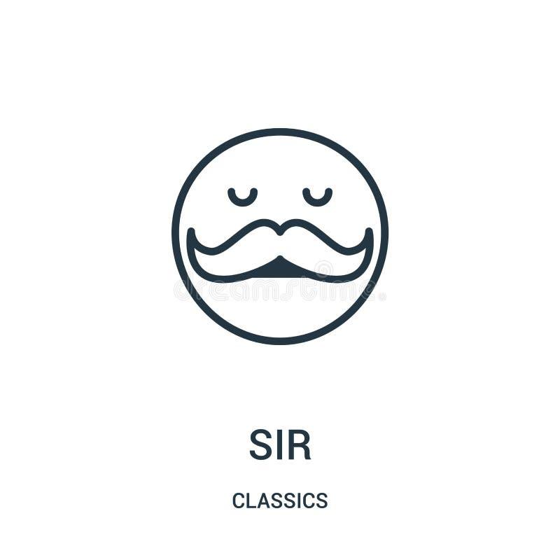 vector del icono del sir de la colección de las obras clásicas Línea fina ejemplo del vector del icono del esquema del sir S?mbol stock de ilustración