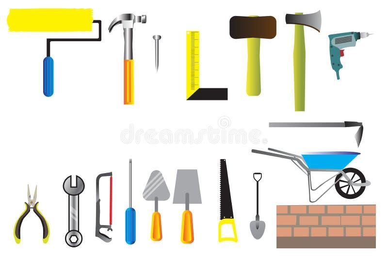 Vector del icono del sistema de herramienta del trabajador, colección de icono plano de las herramientas de la mano de la constru stock de ilustración