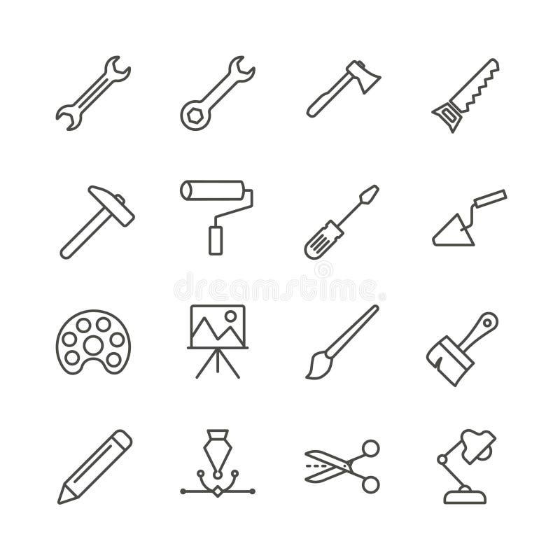 Vector del icono del sistema de herramientas del trabajo Colección hecha a mano de las herramientas del esquema Diseño plano de m libre illustration