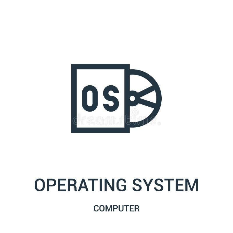 vector del icono del sistema operativo de la colección del ordenador Línea fina ejemplo del vector del icono del esquema del sist libre illustration