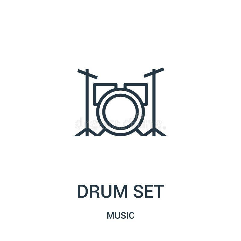 vector del icono del sistema del tambor de la colección de música Línea fina ejemplo del vector del icono del esquema del sistema stock de ilustración