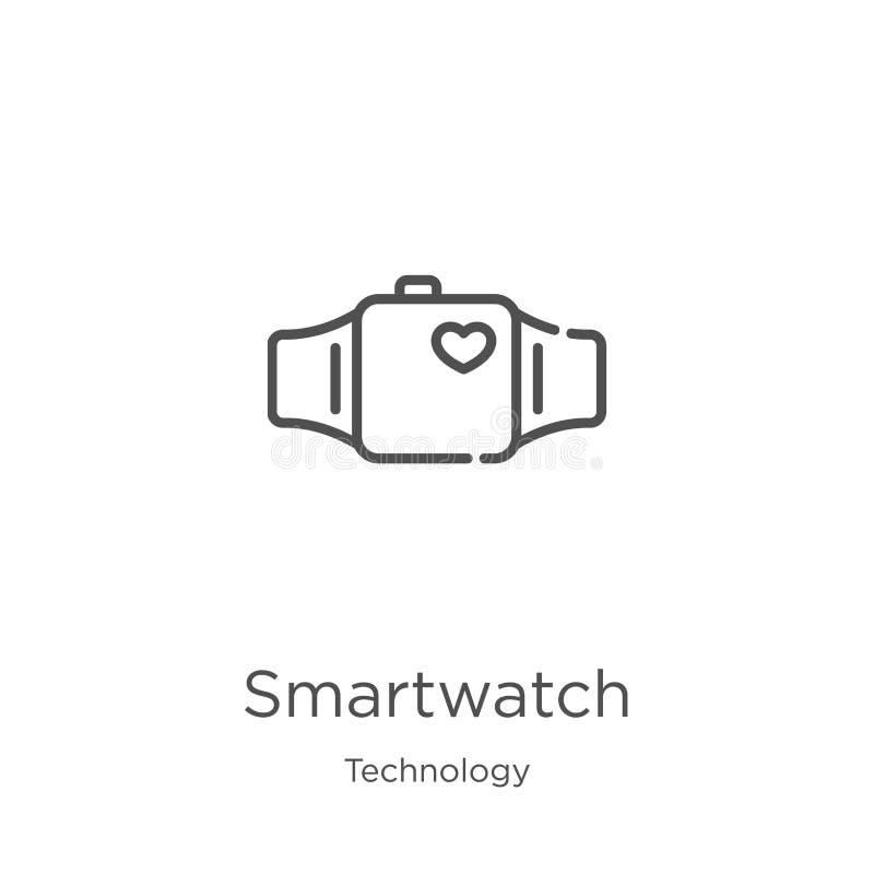 vector del icono del smartwatch de la colección de la tecnología L?nea fina ejemplo del vector del icono del esquema del smartwat ilustración del vector
