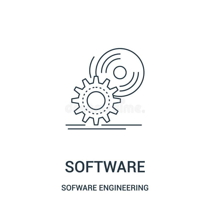 vector del icono del software de la colección video del juego de la ingeniería de programas informáticos Línea fina ejemplo del v libre illustration