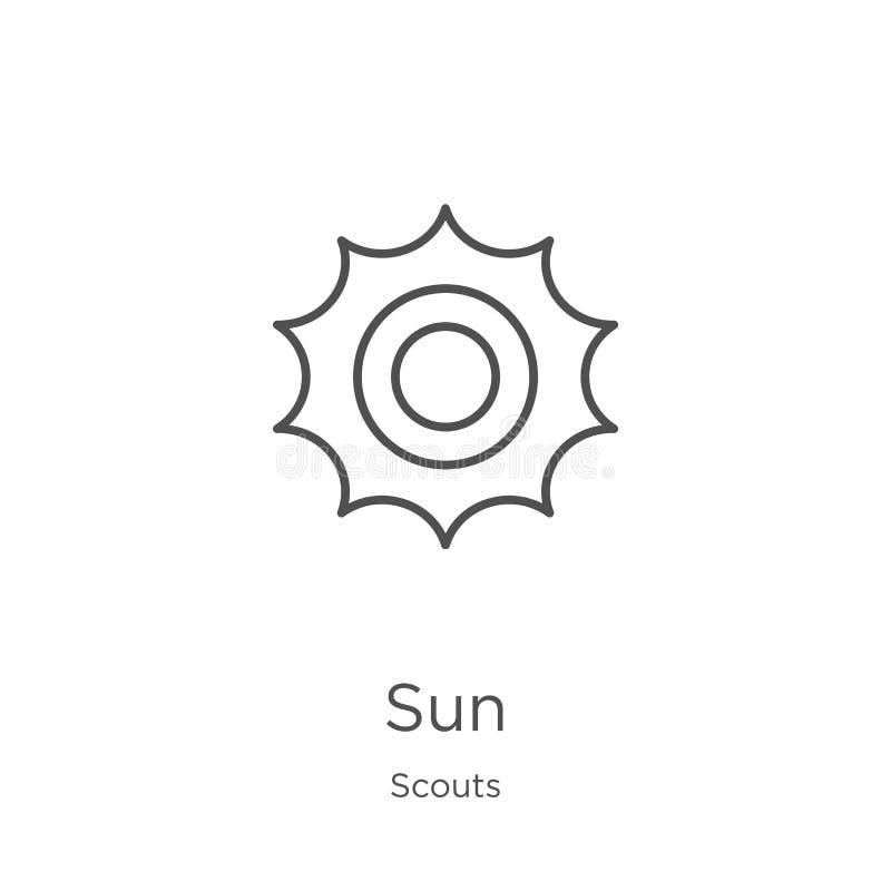 vector del icono del sol de la colección de los exploradores L?nea fina ejemplo del vector del icono del esquema del sol Esquema, ilustración del vector