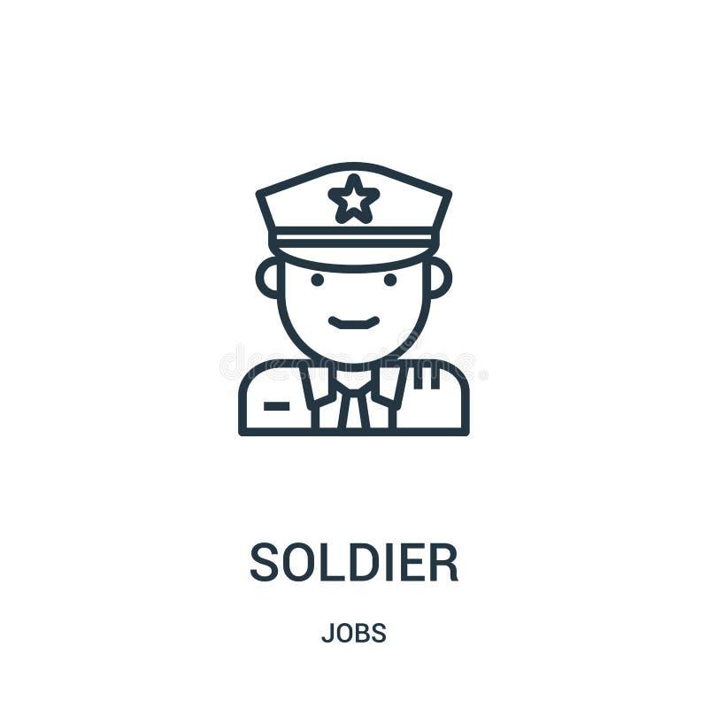 vector del icono del soldado de la colección de los trabajos Línea fina ejemplo del vector del icono del esquema del soldado Símb libre illustration