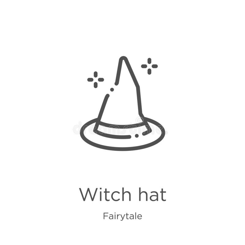 vector del icono del sombrero de la bruja de la colección del cuento de hadas L?nea fina ejemplo del vector del icono del esquema libre illustration