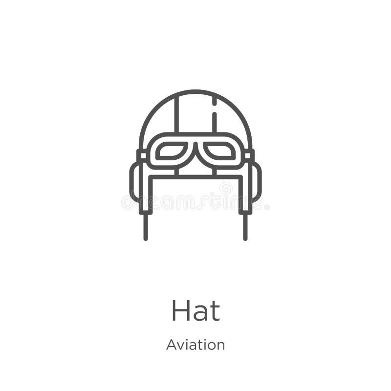 vector del icono del sombrero de la colección de la aviación L?nea fina ejemplo del vector del icono del esquema del sombrero Esq ilustración del vector