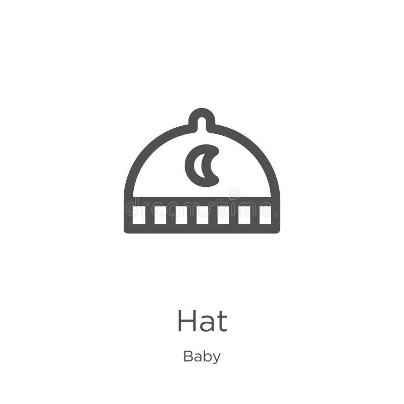 vector del icono del sombrero de la colección del bebé L?nea fina ejemplo del vector del icono del esquema del sombrero Esquema,  libre illustration
