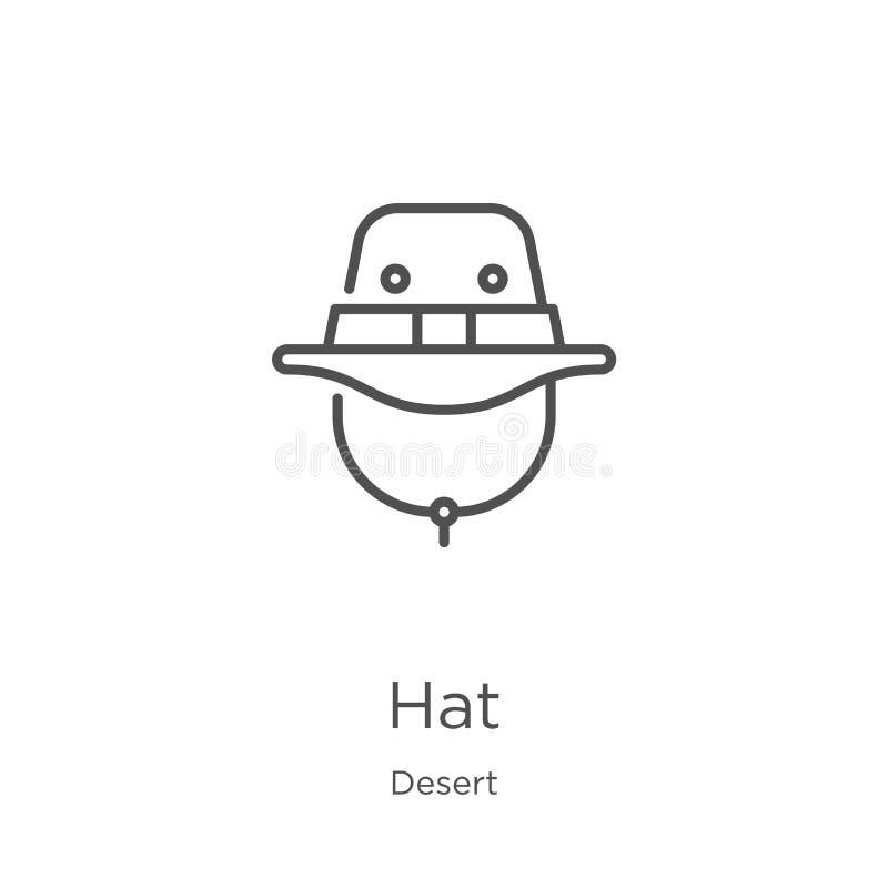 vector del icono del sombrero de la colecci?n del desierto L?nea fina ejemplo del vector del icono del esquema del sombrero Esque libre illustration