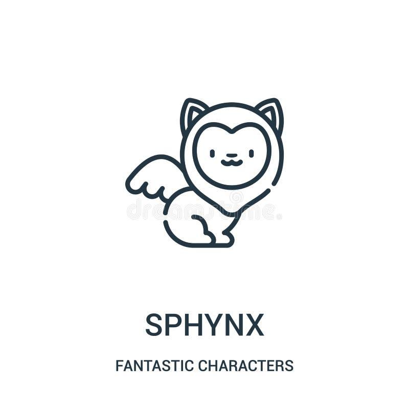 vector del icono del sphynx de la colección fantástica de los caracteres Línea fina ejemplo del vector del icono del esquema del  stock de ilustración