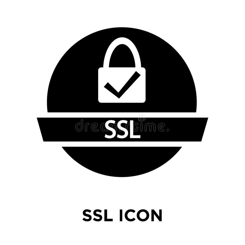 Vector del icono del SSL aislado en el fondo blanco, concepto del logotipo de los Ss stock de ilustración