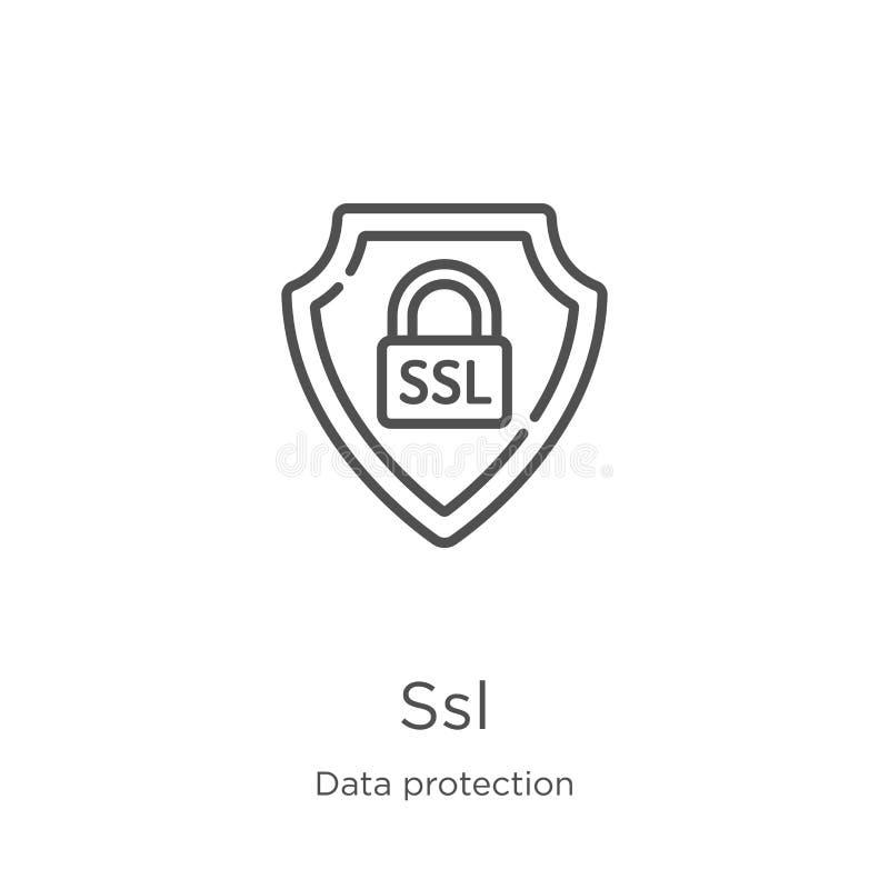 vector del icono del SSL de la colección de la protección de datos Línea fina ejemplo del vector del icono del esquema del SSL Es ilustración del vector
