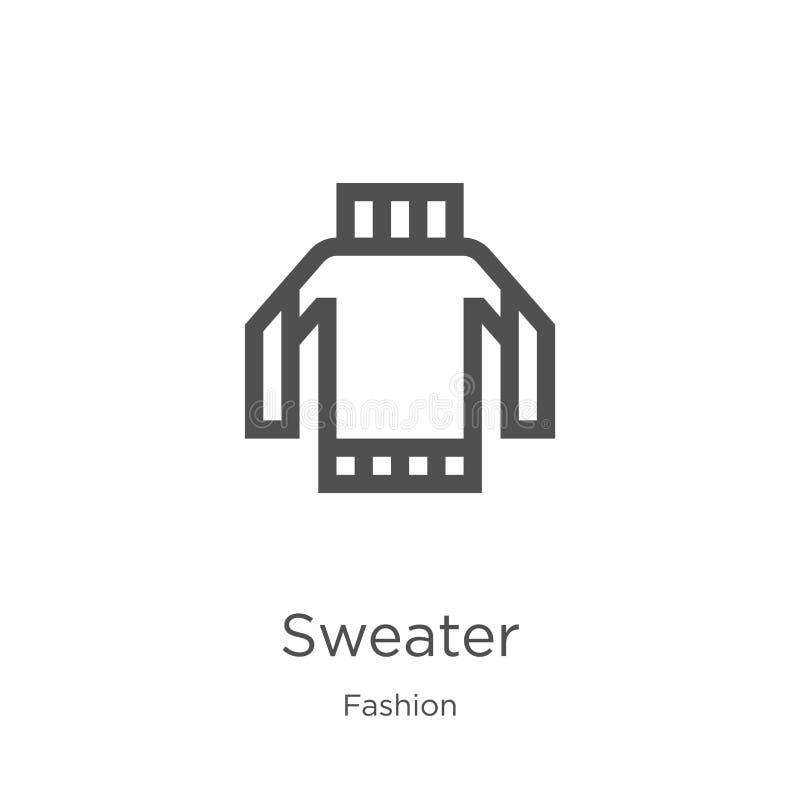 vector del icono del suéter de la colección de la moda L?nea fina ejemplo del vector del icono del esquema del su?ter Esquema, lí stock de ilustración