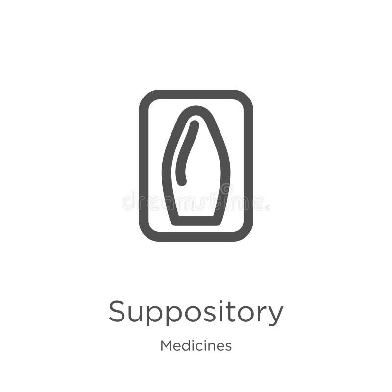 vector del icono del supositorio de la colección de las medicinas Línea fina ejemplo del vector del icono del esquema del suposit ilustración del vector