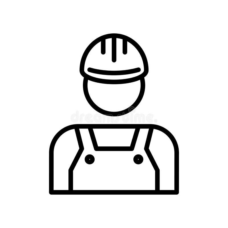 Vector del icono del técnico aislado en el fondo, la muestra del técnico, la línea y los elementos blancos del esquema en estilo  libre illustration