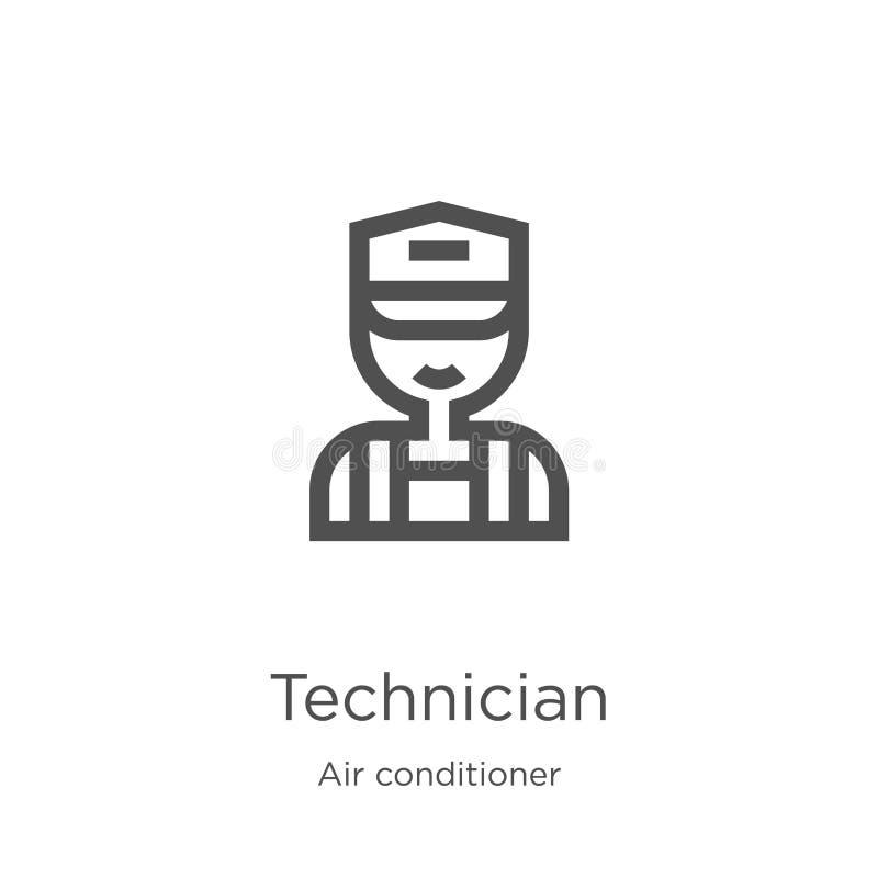 vector del icono del técnico de la colección del aire acondicionado L?nea fina ejemplo del vector del icono del esquema del t?cni stock de ilustración