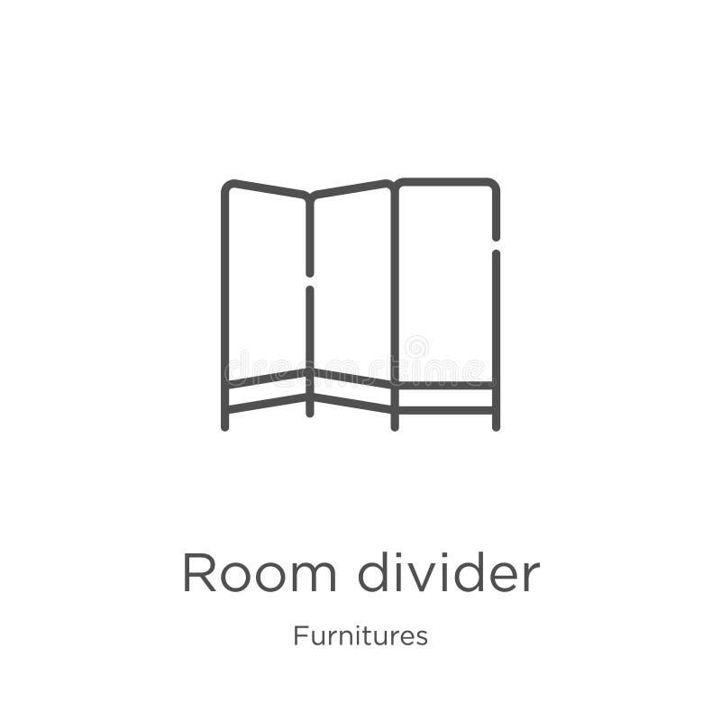 vector del icono del tabique de la colección de los muebles Línea fina ejemplo del vector del icono del esquema del tabique Esque ilustración del vector