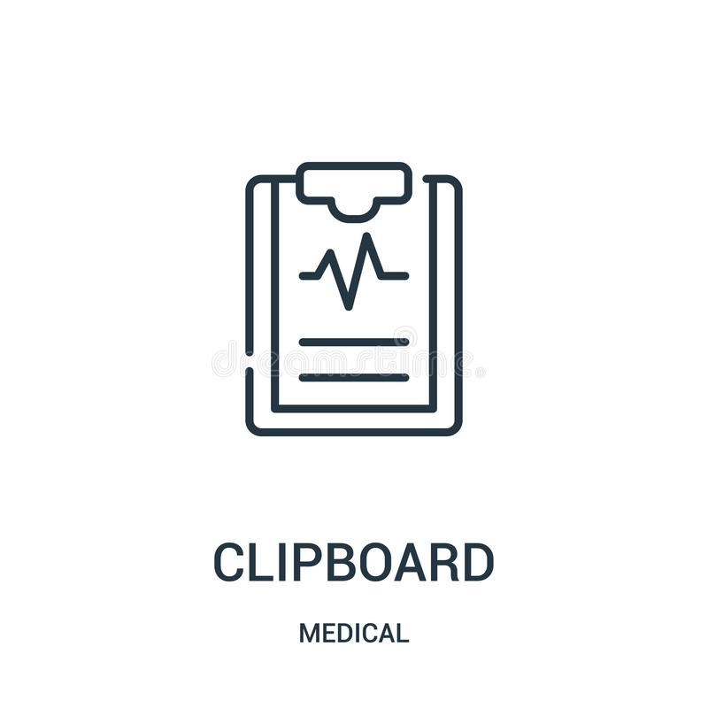 vector del icono del tablero de la colección médica L?nea fina ejemplo del vector del icono del esquema del tablero libre illustration