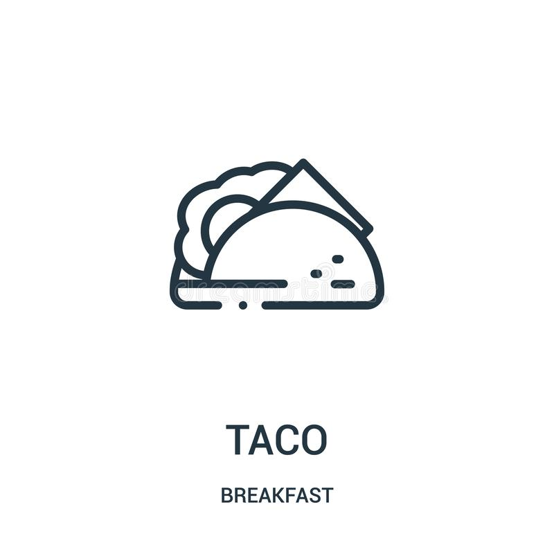 vector del icono del taco de la colección del desayuno L?nea fina ejemplo del vector del icono del esquema del taco ilustración del vector