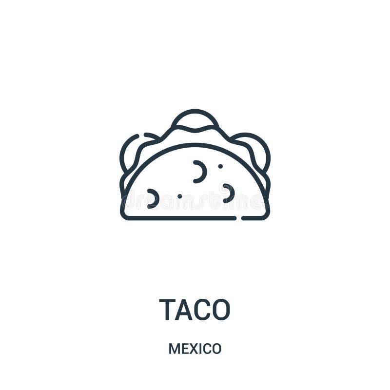 vector del icono del taco de la colección de México Línea fina ejemplo del vector del icono del esquema del taco libre illustration