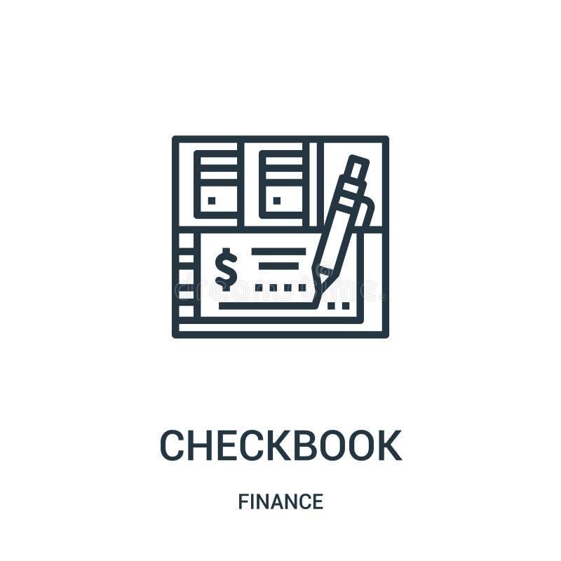 vector del icono del talonario de cheques de la colección de las finanzas Línea fina ejemplo del vector del icono del esquema del stock de ilustración