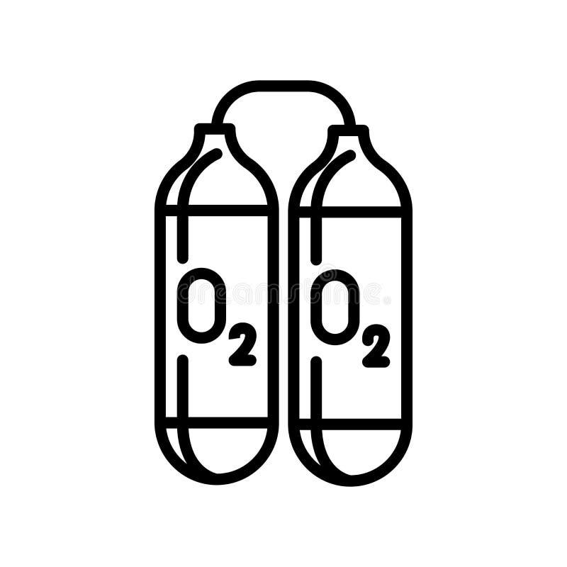 Vector del icono del tanque de oxígeno aislado en la muestra blanca del fondo, del tanque de oxígeno, la línea y elementos del es libre illustration