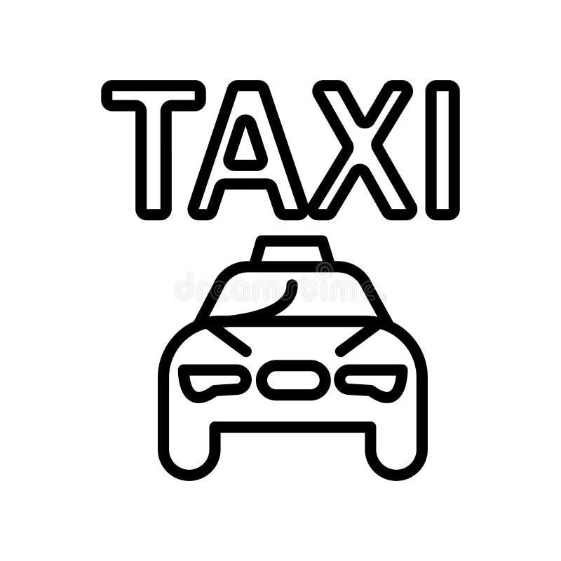 Vector del icono del taxi aislado en el fondo, la muestra del taxi, la línea y los elementos blancos del esquema en estilo linear ilustración del vector