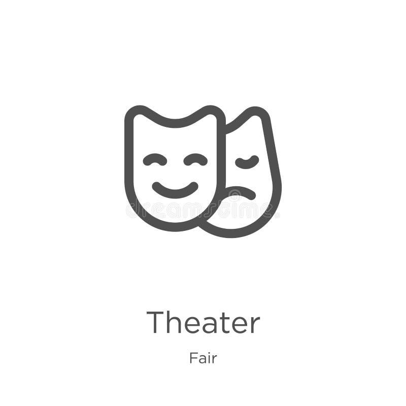 vector del icono del teatro de la colección justa L?nea fina ejemplo del vector del icono del esquema del teatro Esquema, línea f libre illustration