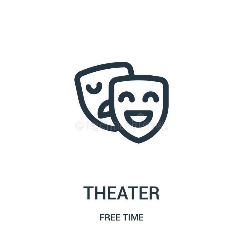 vector del icono del teatro de la colección del tiempo libre Línea fina ejemplo del vector del icono del esquema del teatro Símbo stock de ilustración