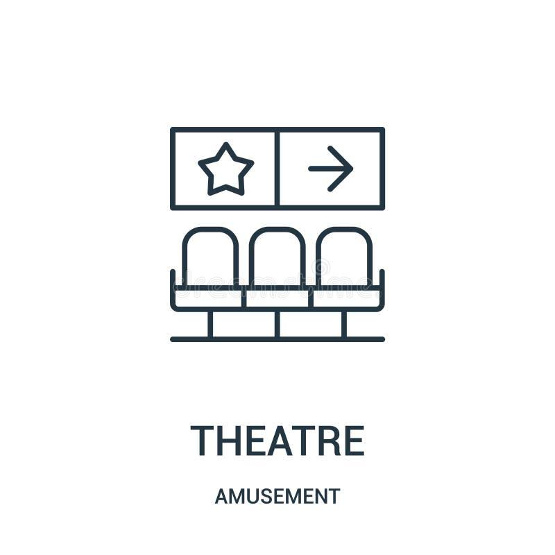 vector del icono del teatro de la colecci?n de la diversi?n L?nea fina ejemplo del vector del icono del esquema del teatro stock de ilustración