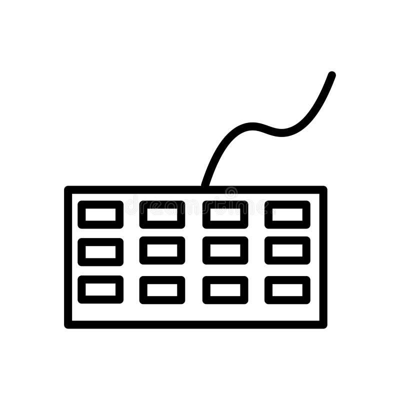 Vector del icono del teclado aislado en el fondo, la muestra del teclado, la línea y los elementos blancos del esquema en estilo  stock de ilustración