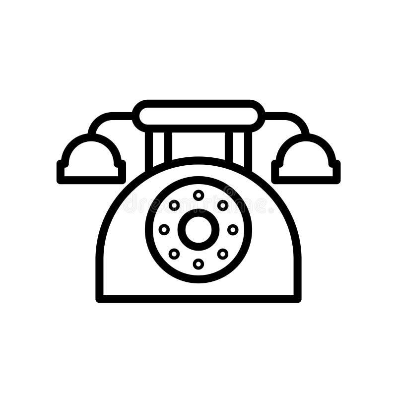 Vector del icono del teléfono aislado en el fondo, la muestra del teléfono, la línea y los elementos blancos del esquema en estil libre illustration