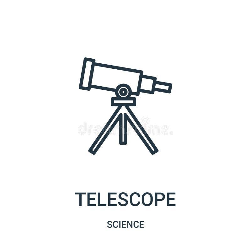 vector del icono del telescopio de la colecci?n de la ciencia L?nea fina ejemplo del vector del icono del esquema del telescopio  stock de ilustración