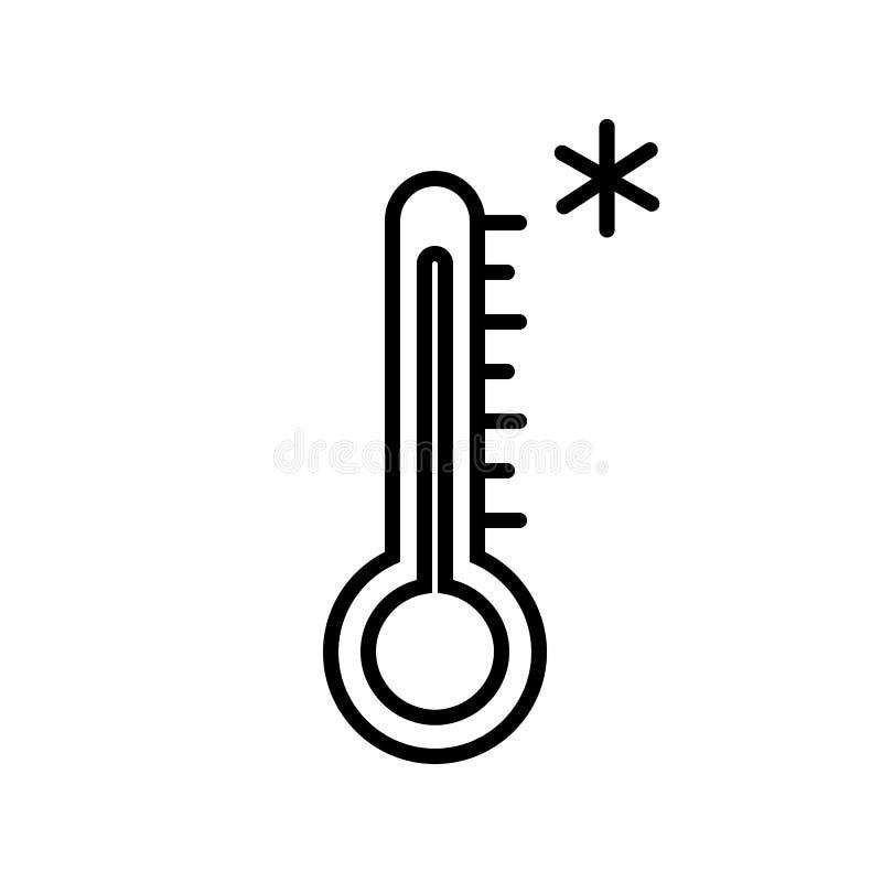 Vector del icono del termómetro del tiempo frío ilustración del vector