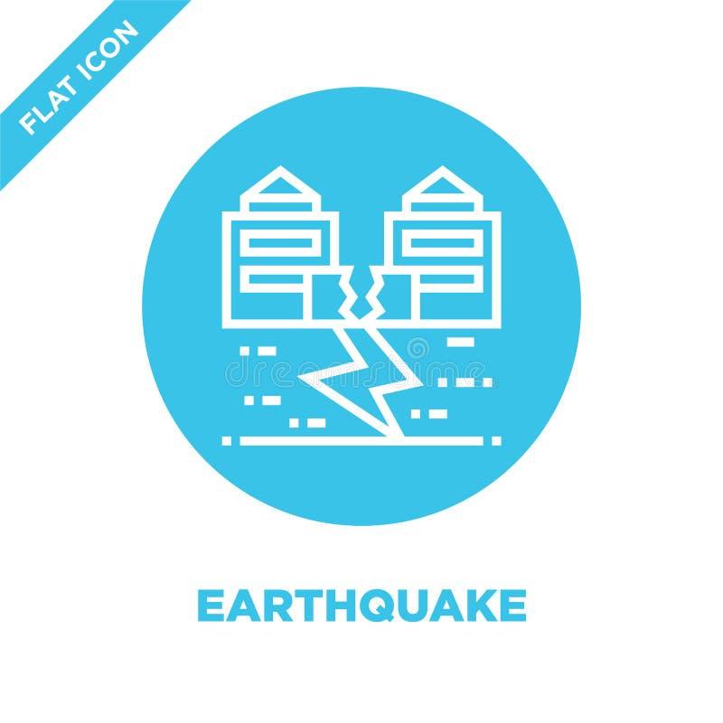 vector del icono del terremoto de la colección del calentamiento del planeta Línea fina ejemplo del vector del icono del esquema  ilustración del vector