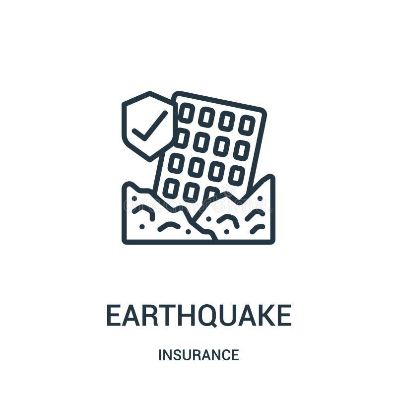 vector del icono del terremoto de la colección del seguro L?nea fina ejemplo del vector del icono del esquema del terremoto S?mbo libre illustration