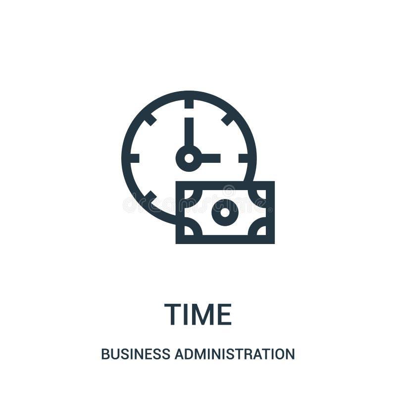 vector del icono del tiempo de la colección de la administración de empresas Línea fina ejemplo del vector del icono del esquema  ilustración del vector
