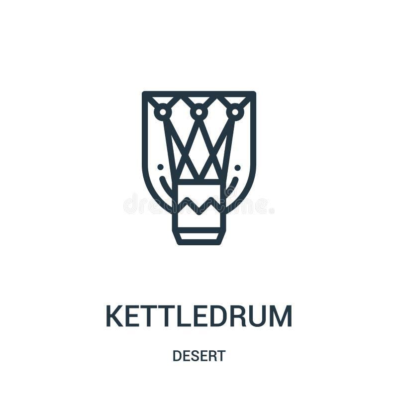 vector del icono del timbal de la colección del desierto Línea fina ejemplo del vector del icono del esquema del timbal Símbolo l stock de ilustración