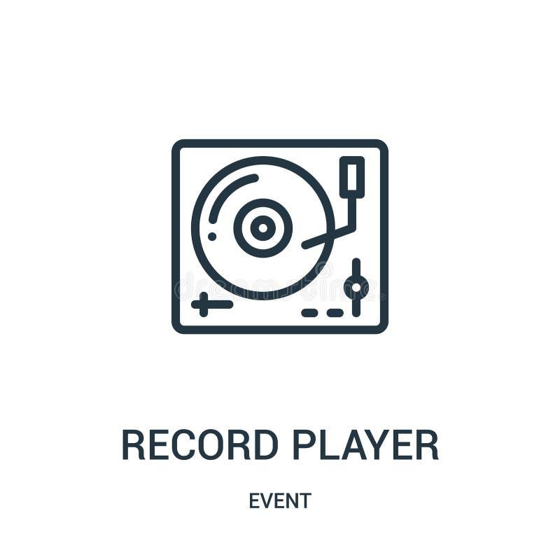 vector del icono del tocadiscos de la colección del acontecimiento L?nea fina ejemplo del vector del icono del esquema del tocadi ilustración del vector