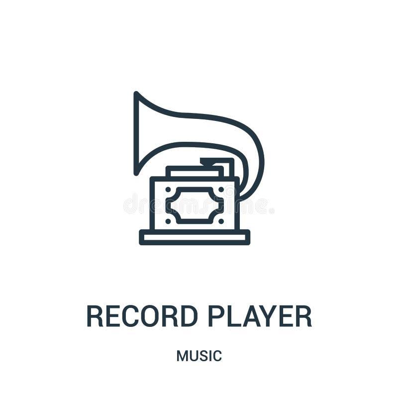vector del icono del tocadiscos de la colección de música Línea fina ejemplo del vector del icono del esquema del tocadiscos ilustración del vector