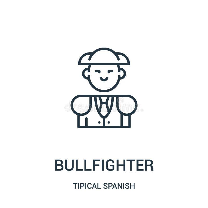 vector del icono del torero de la colección española tipical Línea fina ejemplo del vector del icono del esquema del torero Símbo stock de ilustración