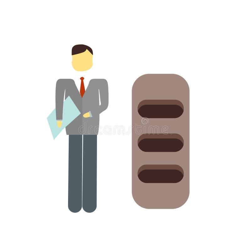 Vector del icono del trabajador aislado en el fondo blanco, muestra del trabajador libre illustration