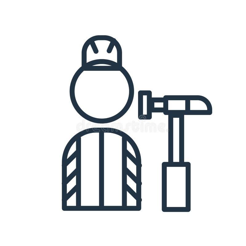 Vector del icono del trabajador aislado en el fondo blanco, muestra del trabajador stock de ilustración