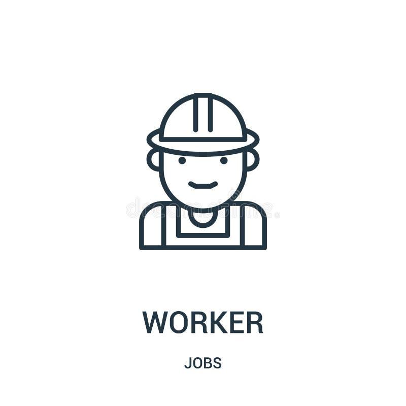 vector del icono del trabajador de la colección de los trabajos L?nea fina ejemplo del vector del icono del esquema del trabajado stock de ilustración