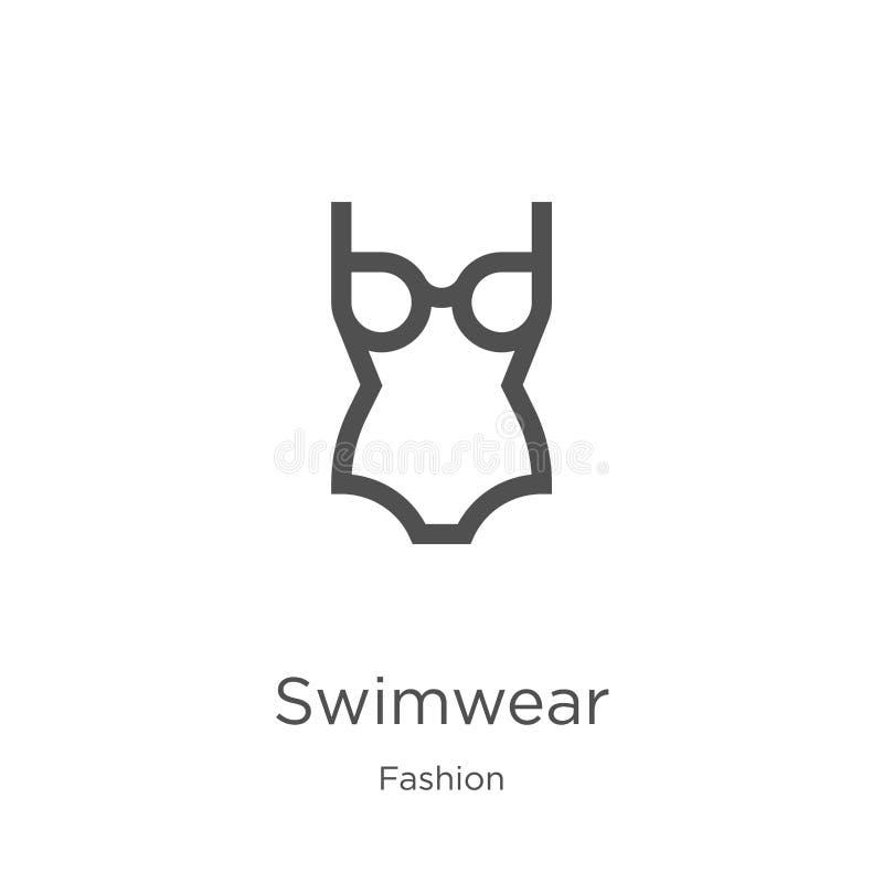 vector del icono del traje de baño de la colección de la moda Línea fina ejemplo del vector del icono del esquema del traje de ba libre illustration