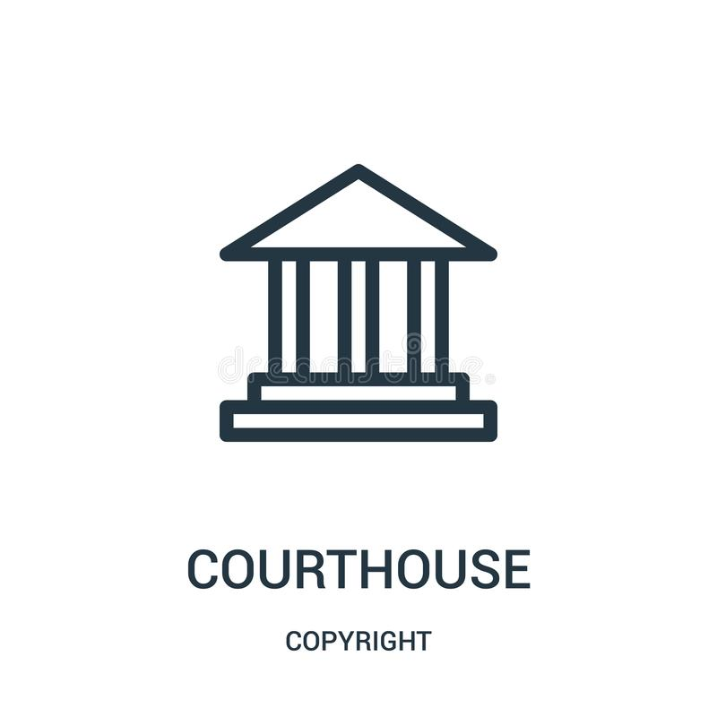 vector del icono del tribunal de la colección de los derechos reservados Línea fina ejemplo del vector del icono del esquema del  libre illustration