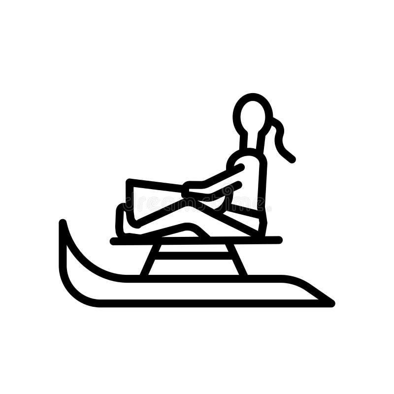 Vector del icono del trineo aislado en el fondo blanco, la muestra del trineo, el símbolo linear y elementos del diseño del movim libre illustration